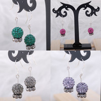Wholesale pairs peacock blue mm Crystal Pave disco ball spacer earrings silver hook dangle