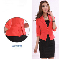 Wholesale New arrival black red slim career suits one button suit business wear white collar career apparel