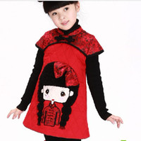 Wholesale Girl s cotton padded clothes girls Chinese costume clamp mian dress cotton cheongsam A