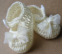 (3-4M) 10 yards Crochet Shoes Boy Newborn Baby Doll Girl Booties Crib Shoes Crochet Christening Baptism Reborn baby shoe.8pairs lot