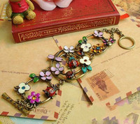 Women's arrival ladybug - New Arrival Antique Womens Charm Bracelets Colorful Flower Leaf Ladybug Bracelet Christmas Gift