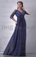 Wholesale Navy blue chiffon sexy v neck mother of bride dresses backless lace evening dress formal gown long sleeves lace mother dresses Plus size