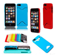 Plastic For Apple iPhone For Christmas Cheap Plastic Case With ID Credit Card Holder Hard Case Back Cover For iphone 5 5G 5th More Colors