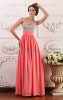 Wholesale Pink beads prom dresses long A line spaghetti floor length lady formal party evening gowns ball zipper open back Prom Dresses