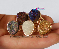 Wholesale Natural Druzy Geode Crystal Drop E Plated Colors Ring Resizable