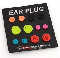 Wholesale 48pcs allergy free Mixed Size Tunnel Lovely Fake Plugs piercing Earings Studs Rings
