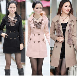 2014 HOT Winter Womens Lady Double-Breasted Long Trench Coats Scarf Coat Outwear US Size 4--12