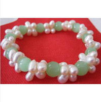 Wholesale New Arrive Christmas Gift Jewelry inch White Genuine Freshwater Pearl Green Jade Gemstone Bracelet