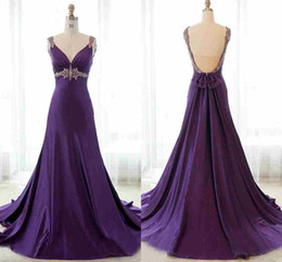 Best Selling Free Shipping Special Occasion Dresses Purple V-neck Empire Beaded Waist Satin Brush Train Formal evening Dress