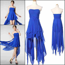 Hot Sale Actual Image Blue High low Skirt Sweetheart Draped Chiffon Sexy Cocktail Dress Prom Gown