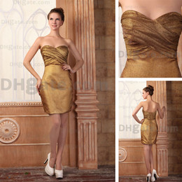 2015 Sexy Sweetheart Gold Matt Satin Cocktail Dress Above Knee Length Real Actual Images