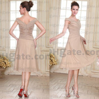 Sweetheart best portrait pictures - New Arrival Best A line Knee Length Chiffon Designer Mother Of Bride Dresses Champagne Prom dress MD001