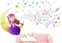 Wholesale PVC Removable Wall Sticker Decals Girl MOON Art Murals musical note wallpaper Kids Bedroom Decor