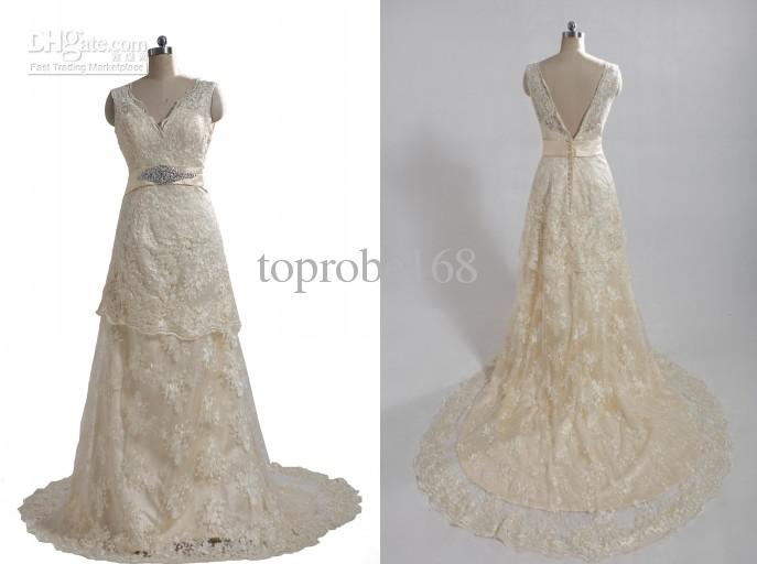 V Neck White Ivory Champagne Sash Beads New Lace Wedding Bridal Bride Dresses Gown Size All