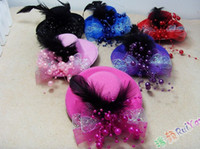 Wholesale Mini Top Costume Hat With Pearls amp Feather Colors Mixed