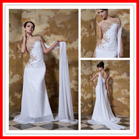 Mermaid One Shoulder Beaded Sexy Chiffon Hot Sale Long Eveni...