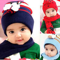 Wholesale 2PCS Suit Children s Caps Scarf Infants Winter Beetle Hats Bees Wool Baby Scarves Boys and Girls