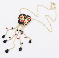 Bohemian acrylic butterfly beads - Cute Lovely Sweet Enamel Butterfly Golden Metal Beads Tassels Pendant Necklace women s