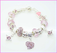 Wholesale Dazzling Gift Silver Pink Glass Crystal Beads Fit Rhinestone Heart Charms Bracelet