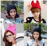 Wholesale Retail Lady winter wool hat men s Ms devil horns Orecchiette Korean knitted wool cap demons hat