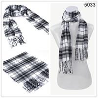 Wholesale Winter men Acrylic knit plaid scarf printing fringed imitation cashmere white Mixed order