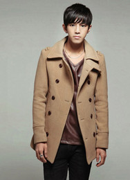 Wholesale Autumn Winter New Mens Overcoat Coat In Length Double Dreasted Woolen Overcoat