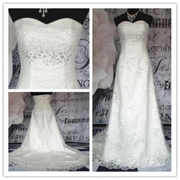Wholesale Custom Made COSTURA COLLECTION Sexy Ball Gown Sweetheart Lace Applique Beaded Wedding Dresses