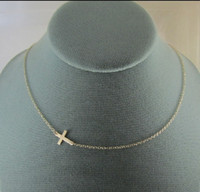 Wholesale New Hot Sideway Cross Necklace Gold Silver plated Cross necklace inches