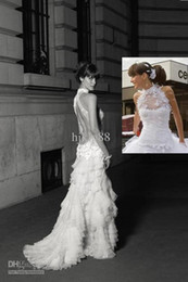 Custom-Made New Sexy High Neck Backless Sleeveless Lace layers Organza Wedding Dresses Bride Gowns