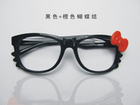 Wholesale Glasses frame manual bowknot cat tide flat lens big box KT
