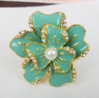 lovely Women's Party New Coming Rhinestone Gold Silver Plated White Black Glazed Flower Ring Size Adjustable mix color