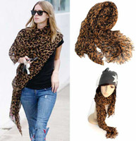 Long animal print shawls - New Pashmina Scarf Shawl Leopard Warm Scarf Animal scarves Winter Wrap stole6217