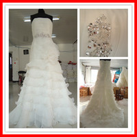 Wholesale Lastest Designer A line Strapless Layered Beaded Organza Long Wedding Dresses Bridal Gowns Cheap