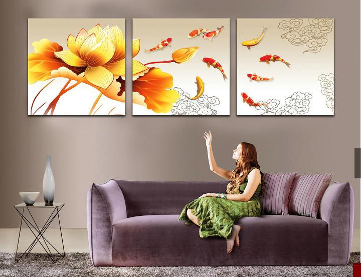 2017 top living room decorative painting nine fish lotus frameless paintings triptych 50cmx50cm for Best paintings for living room