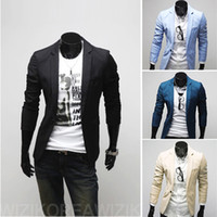 Wholesale Korean Man fashion Suit fit silm one button blazer coat jackets M L XL XXL outwear x15