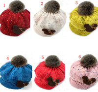 Wholesale new winter hats Baby peaked caps baby hats crochet hats cony hair ball hats good baby