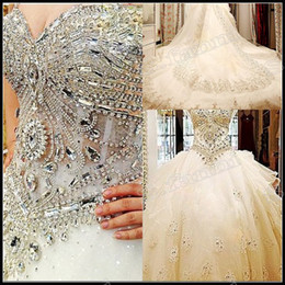 Wholesale Luxury Best Belong To Your Love All Handmade Crystals Beads Cathedral Train Wedding Dress WD088