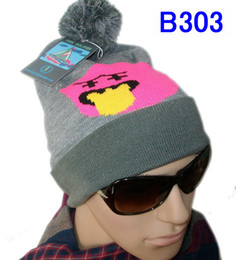 2017 wholesale knitted cashmere hat New arrival Pink Dolphin Beanie hat caps Cuffed knit beanie with pom on top pink dolphin beanie hats wholesale knitted cashmere hat for sale
