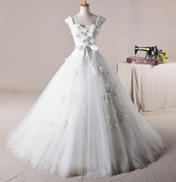 Wholesale White Tulle Beads Appliques Chapel Train Actual Image New Arrival Elegant Wedding Dresses A006