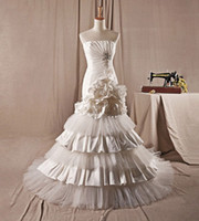 Trumpet/Mermaid Real Photos Portrait 2014 Real Wedding Dresses A016 Mermaid Strapless Floral Chapel Train Tiered Wedding Dresses Bridal Gowns