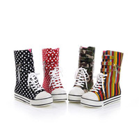 Wholesale 2012 New Autumn College Wind Lace Velcro Heavy bottomed High top Canvas Boots