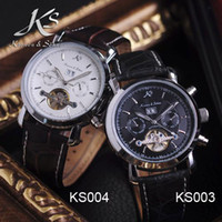 Wholesale KS Men Mechanical Watch Tourbillon Skeleton Date Day Leather Luxury Wrist Watch Retail KS003 KS004