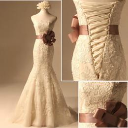 Wholesale Mermaid Strapless Venice Lace Wedding Dress Brown SASH Bridal Dress Prom Dress Sz