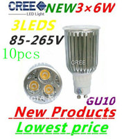 10pcs lot High Power GU10 3X6W 18W CREE LEDS Spotlight 85V- 2...