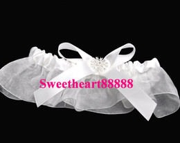 Wholesale MIC Ivory Bow Rhinestone Wedding Ceremony Organza Garter