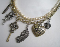 Wholesale Vintage Style Bronze Heart Key Crown Leaf Cupid Pearl Double Chain Necklace Women Jewelry