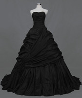 Wholesale Stylish Customized A Line Strapless Ruffles Beads Black Taffeta Wedding Dresses Bridal Gowns
