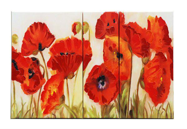 2017 Oil Painting Set Red Poppy Group Printing Abstract ...