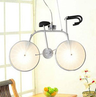 Wholesale Modern Creative Glass Bike Chandelier Children s Cycling Pendant Lamp Cartoon Lamp Kids Room Light