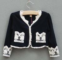 4T-5T knit wear - Fashion Autum Girls Cardigan Lace Clothes knitting wear Kids Clothing Knitting Patterns Sweaters